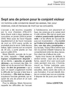 7 ans de prison pour le conjoint violeur